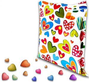 Printed Courier Bag with Hearts