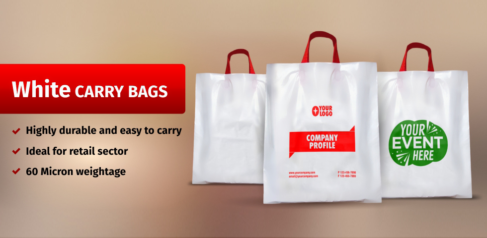 White Retail Carry Bags for Exhibition & Promotion